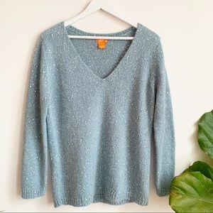Joe Fresh Blue Brilliant V Neck Sweater Wool L